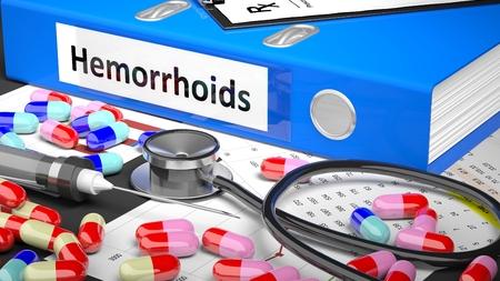 hemorrhoids: Illustration of doctors desktop with different pills, capsules, statoscope, syringe, blue folder with label Hemorrhoids