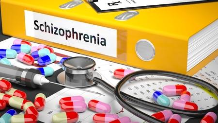 esquizofrenia: Ilustración de escritorio del doctor con diferentes píldoras, cápsulas, statoscope, jeringuilla, carpeta amarilla con la etiqueta 'esquizofrenia'