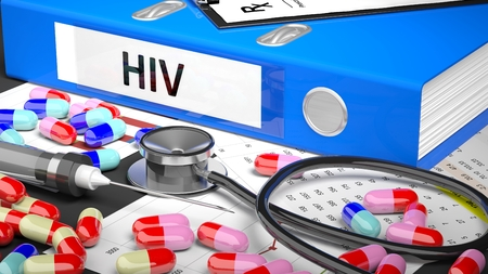 altimeter: Illustration of doctors desktop with different pills, capsules, statoscope, syringe, blue folder with label HIV Stock Photo