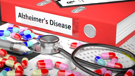 alzheimers: Illustration of doctors desktop with different pills, capsules, statoscope, syringe, red folder with label Alzheimers Disease