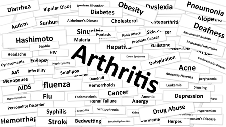 diagnosed: A Disease called Arthritis written in bold type. Black and white words