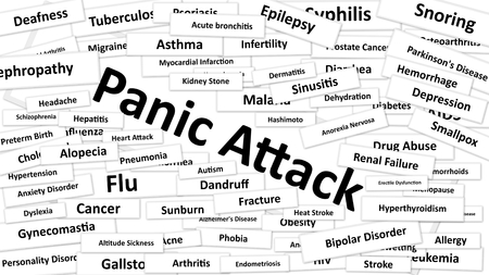 diagnosed: A disease called Panic Attack written in bold type. Black and white words Stock Photo