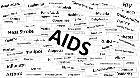 diagnosed: A disease called AIDS written in bold type. Black and white words