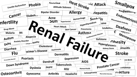 renal failure: A disease called Renal Failure written in bold type. Black and white words