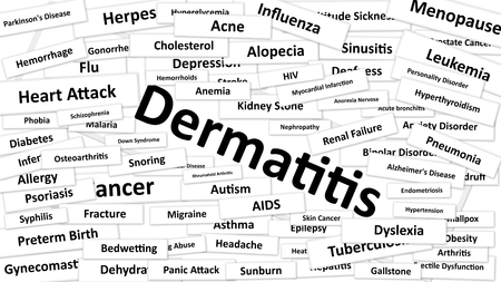 diagnosed: A disease called Dermatitis written in bold type. Black and white words