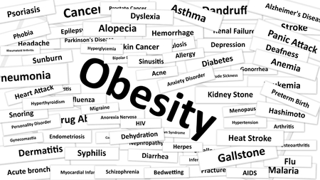 diagnosed: A disease called Obesity written in bold type. Black and white words Stock Photo