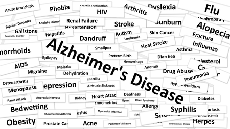 leukemia: A disease called Alzheimers Disease written in bold type. Black and white words