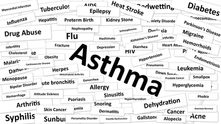 diagnosed: A disease called Asthma written in bold type. Black and white words Stock Photo