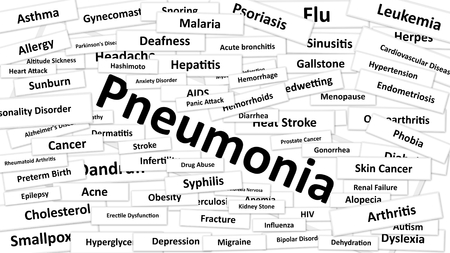 diagnosed: A disease called Pneumonia written in bold type. Black and white words