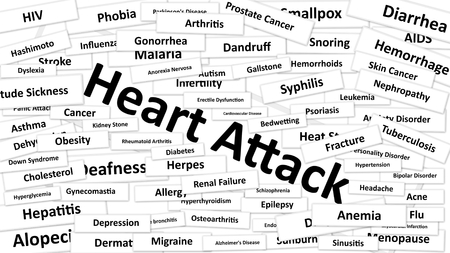 diagnosed: A disease called Heart Attack written in bold type. Black and white words