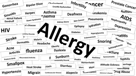 A disease called Allergy written in bold type. Black and white words