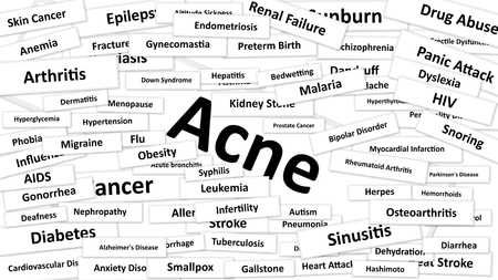 diagnosed: A disease called Acne written in bold type. Black and white words Stock Photo
