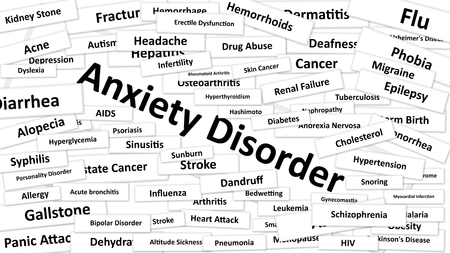 leukemia: A disease called Anxiety Disorder written in bold type. Black and white words
