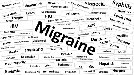 diagnosed: A disease called Migraine written in bold type. Black and white words Stock Photo