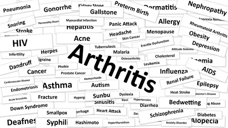 diagnosed: A disease called Arthritis written in bold type. Black and white words Stock Photo
