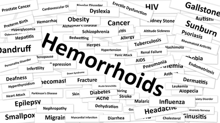 leukemia: A disease called Hemorrhoids written in bold type. Black and white words