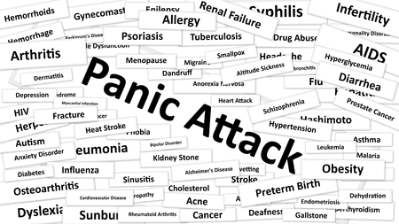 A disease called Panic Attack written in bold type. Black and white words Stock Photo