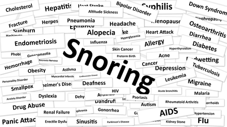 gallstone: A disease called Snoring written in bold type. Black and white words Stock Photo