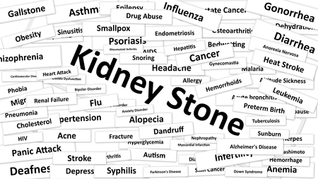 diagnosed: A disease called Kidney Stone written in bold type. Black and white words