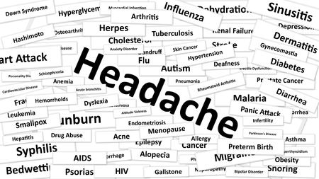 headache: A disease called Headache written in bold type. Black and white words