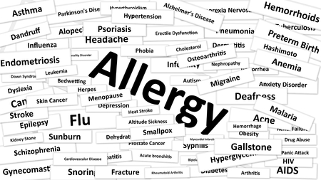 diarrhea illustration: A disease called Allergy written in bold type. Black and white words