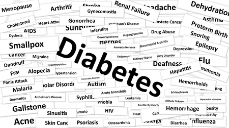 A disease called Diabetes written in bold type. Black and white words
