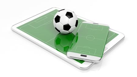 broadcast: Soccer field with ball on smartphone edge and tablet display, isolated on white.