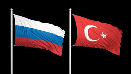 coalition: Turkish and Russian flags against of black background. Isolated