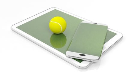 broadcast: Tennis field with ball on smartphone edge and tablet display, isolated on white. Stock Photo