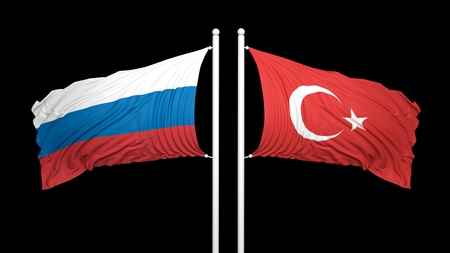 coalition: Russian and Turkish flags on black background. Isolated