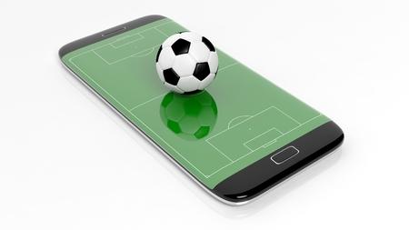 cancha de futbol: Campo de fútbol con la bola en la pantalla de borde smartphone, aislado en blanco.