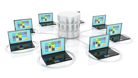 cloud computer: Network database and laptop icons isolated on white background.
