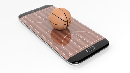 broadcast: Basketball field with ball on smartphone edge display, isolated on white.