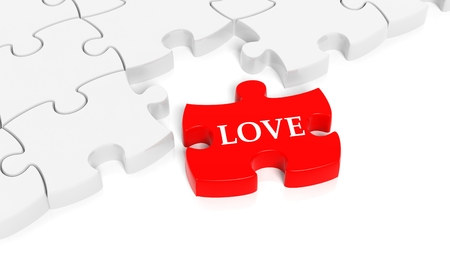 abstract love: Abstract white puzzle pieces background  with one red with Love text.