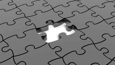 one piece: Abstract background with black puzzle pieces one piece missing.