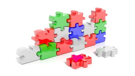 piece: Colorful puzzle pieces forming wall, isolated on white.