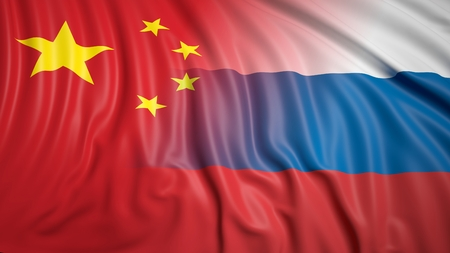 coalition: Close-up of Russian and Chinese flags