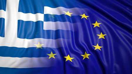 coalition: Close-up of Greek and EU flags