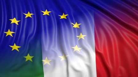 symbiosis: Close-up of Italian and EU flags. From above Stock Photo