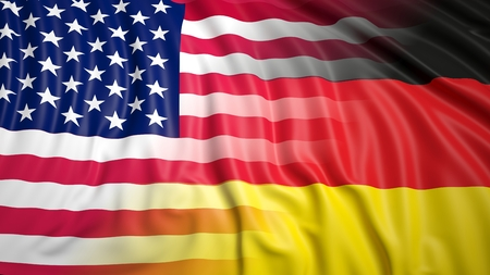 hostility: Close-up of American and German flags