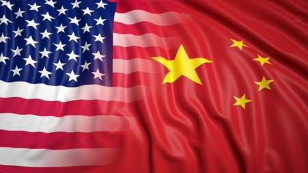 coalition: Close-up of American and Chinese flags