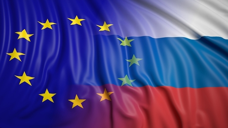hostility: Close-up of Russian and EU flags Stock Photo