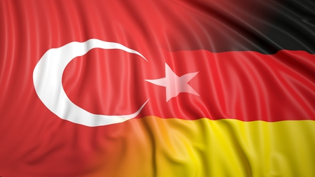 coalition: Close-up of Turkish and German flags Stock Photo