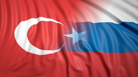 hostility: Close-up of Turkish and Russian flags Stock Photo