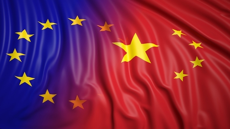 coalition: Close-up of EU and Chinese flags