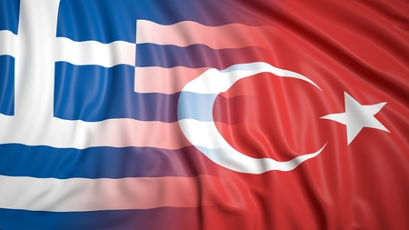 hostility: Close-up of Turkish and Greek flags Stock Photo