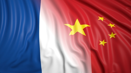 coalition: Close-up of French and Chinese flags