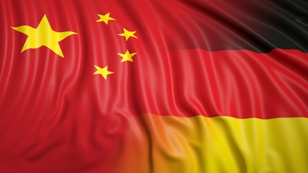 hostility: Close-up of Chinese and German flags Stock Photo