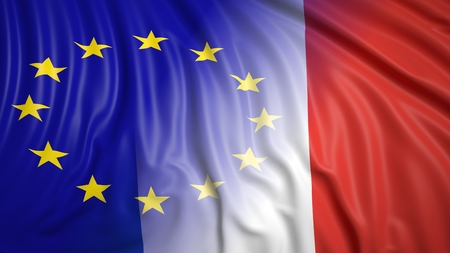 hostility: Close-up of French and EU flags