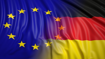 hostility: Close-up of EU and German flags